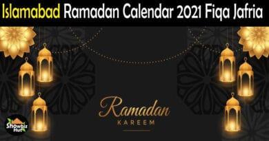 Islamabad Shia Sehri Iftar Timing Ramadan 2021